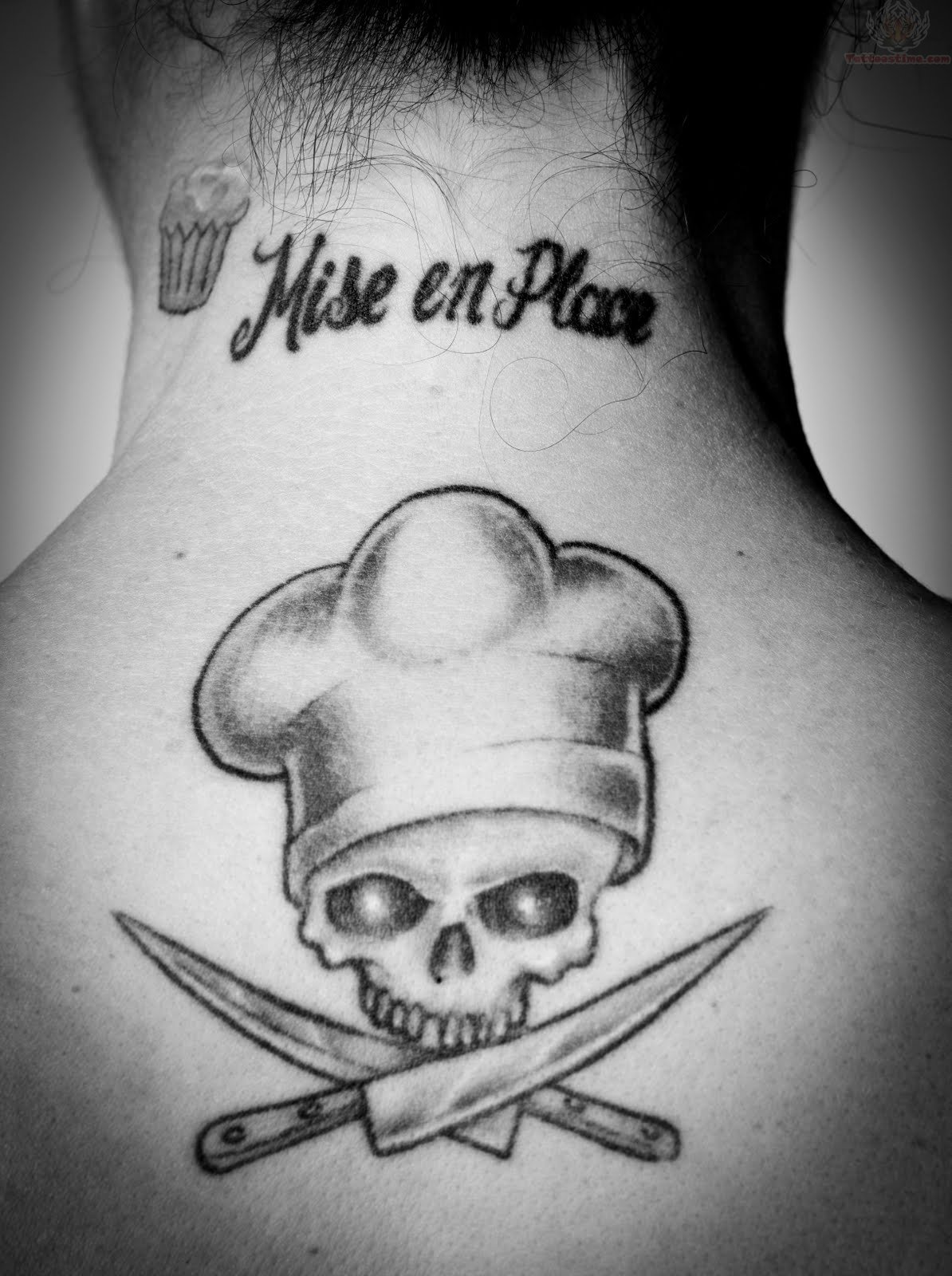 Chef Skull And Knife Tattoos On Upperback