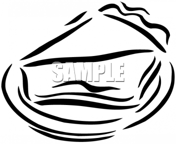 Clipart Of Pie Slice On A Plate   Black And White   Foodclipart Com