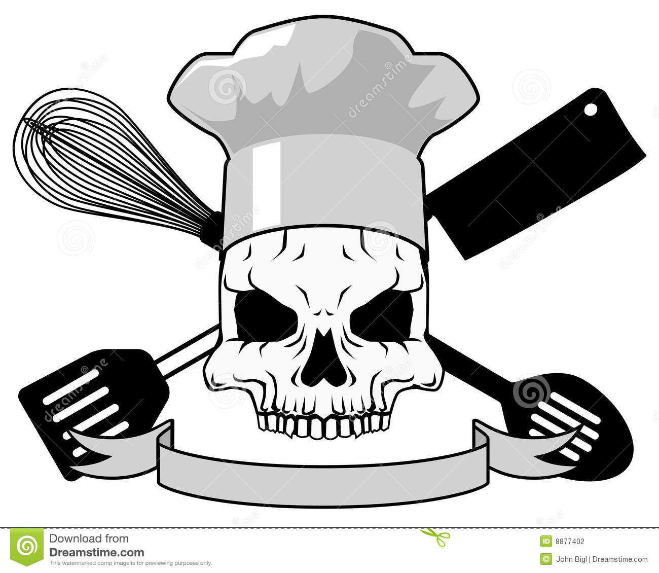 Death Chef Tattoo Design  Placeholder Text Included On Vector Version