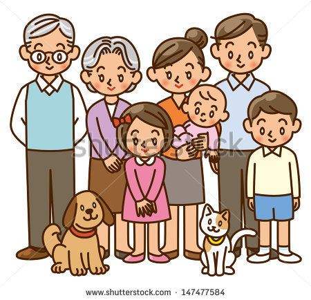 Family Generation Clipart Family Home Three Generation