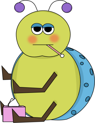 Flu Bug Clip Art Image   Sick Flu Bug With Thermometer In Its Mouth