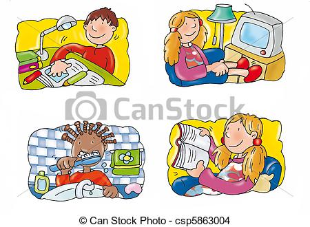 Girl Watch Tv Clipart Boys And Girls   Csp5863004