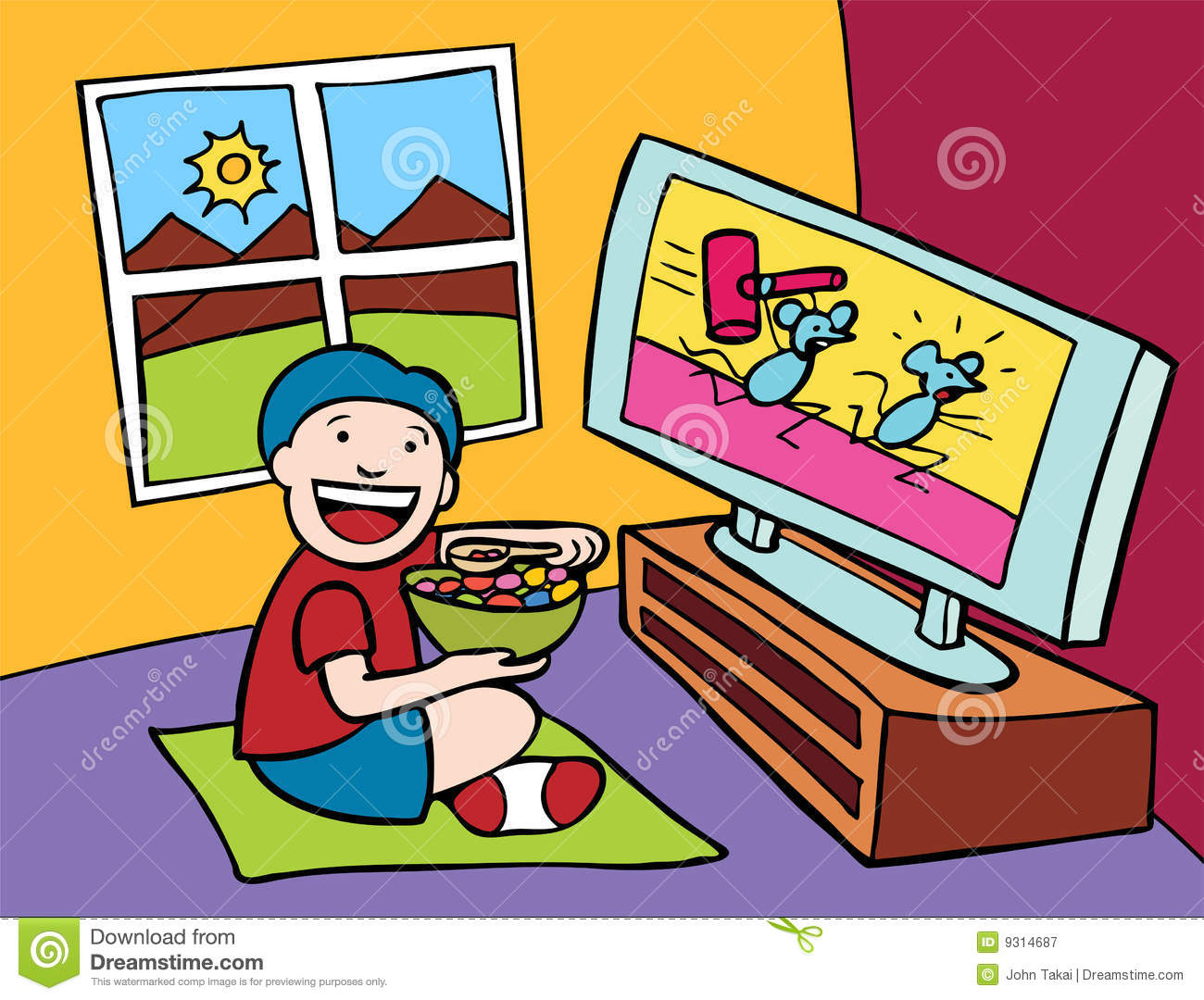 Kid Watching Tv Royalty Free Stock Photography   Image  9314687