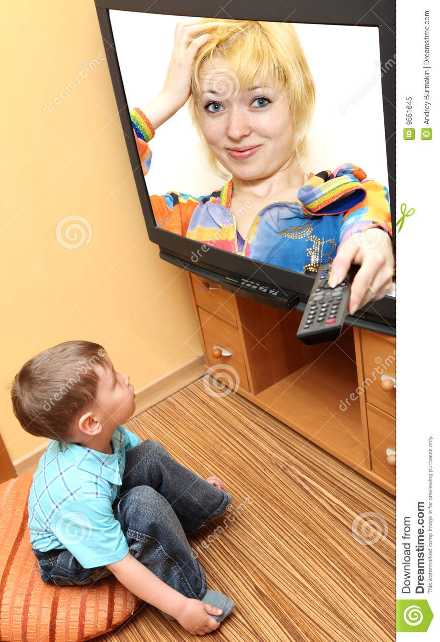 Little Boy Watching Cinema On Tv  Tv Screen   Photo Of The Author