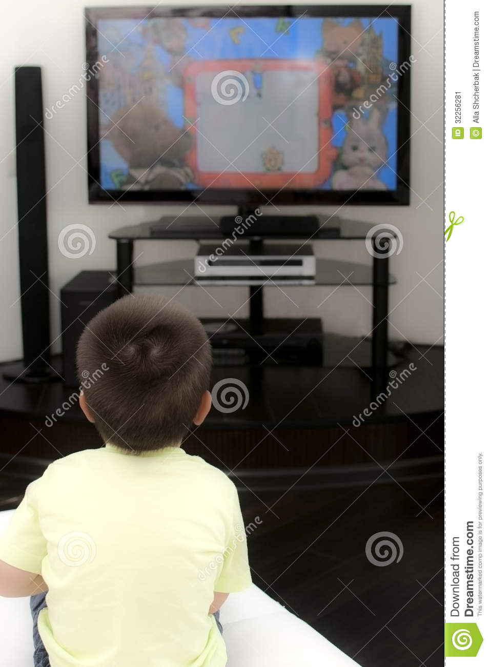 Little Boy Watching Tv Stock Image   Image  32256281