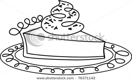 Pie Clipart Black And White Stock Vector Retro Slice Of Pie On A Plate