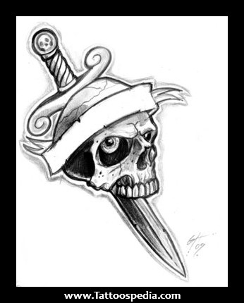 Skull Knife And Dagger Tattoo
