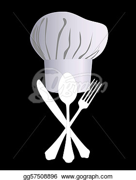 Vector Illustration   Chef S Hat With A Knife Spoon And Fork On A