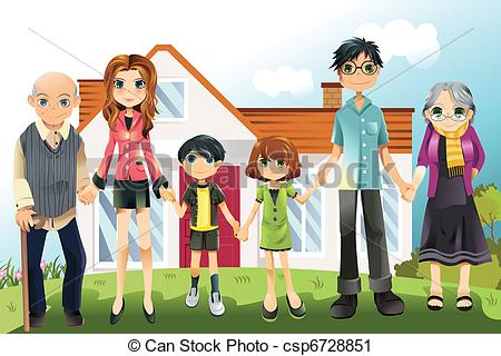 Vector Illustration Of A Multi Generation Family In Front Of The House