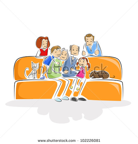 Vector Illustration Of Multi Generation Family Sitting In Sofa   Stock