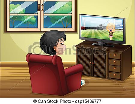 Vectors Illustration Of A Young Boy Watching Tv At The Living Room