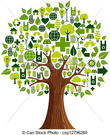 Clip Art Vector Of Go Green Icons Concept Tree   Environmental