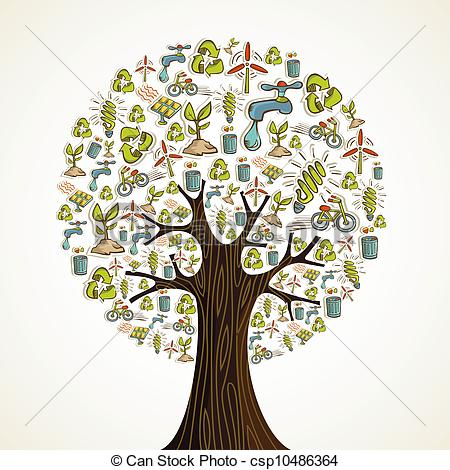 Clip Art Vector Of Go Green Icons Tree   Environmental Conservation