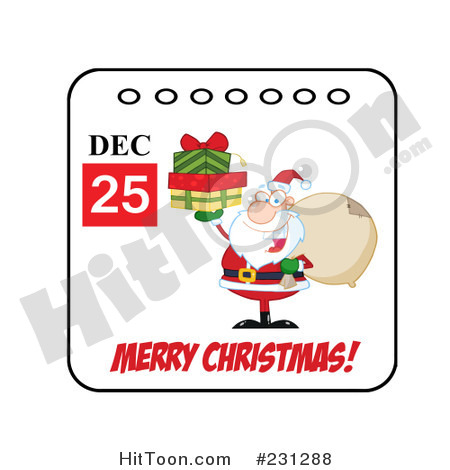 Clipart Illustration Of A Merry Christmas December 25th Santa Calendar