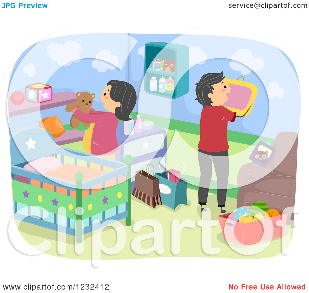 Clipart Of Expecting Parents Decorating A Baby Nursery   Royalty Free