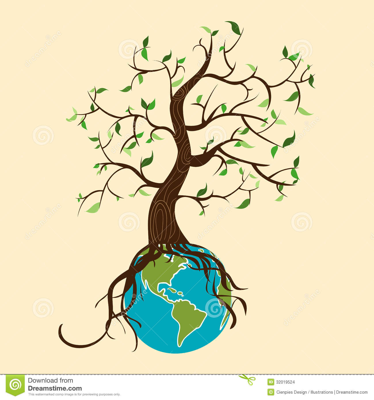 Conceptual Environment Care Tree Over The Earth Globe  Vector File