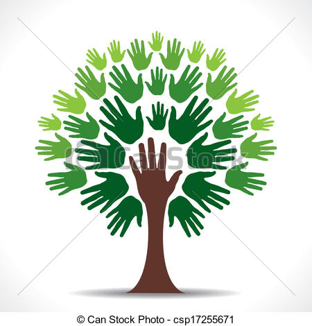 Creative Go Green Support Hand Tree    Csp17255671   Search Clipart
