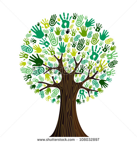 Go Green Crowd Human Hands Icons In Isolated Tree Composition  Vector