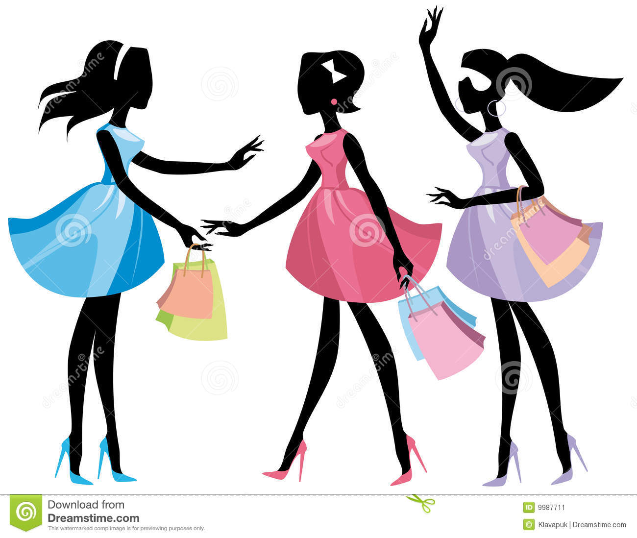 Lady With Shopping Bags Clipart Lady Shopping