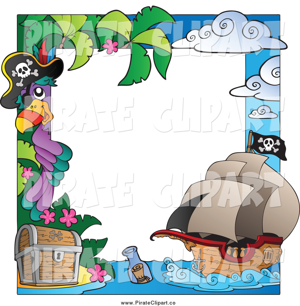 Pirate Border Clipart A Parrot And Pirate Border