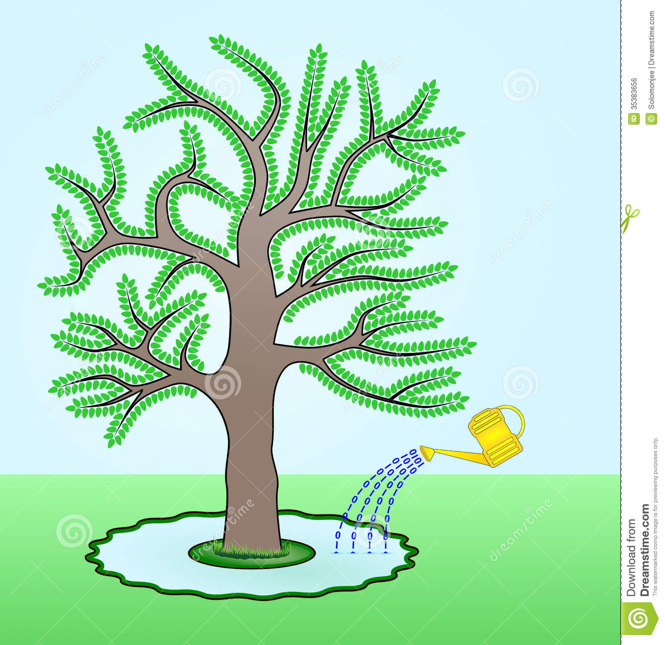 Raster Illustration Of A Go Green Concept Where A Tree Is Watered By