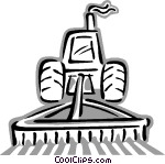 Tractor Plowing A Field Vector Greyscale Conversion