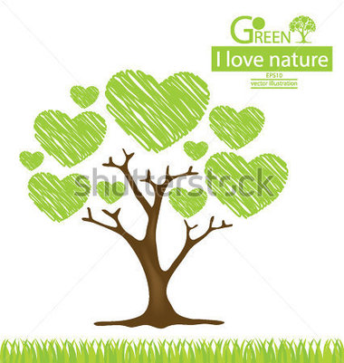 Tree Design  Heart  Go Green  Save World  Vector Illustration