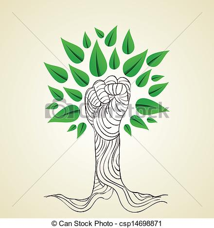 Vector   Go Green Hand Concept Tree   Stock Illustration Royalty Free