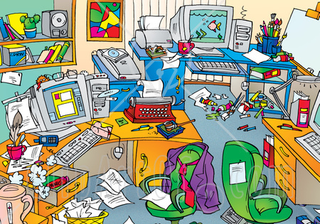 36072 Clipart Illustration Of A Very Messy Office With Clutter On The