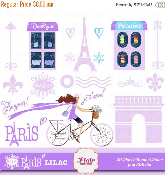 50  Off Ooh La La  Paris  Lilac Digital Clipart Vacation Getaway