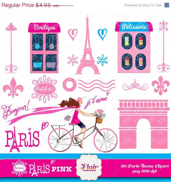 50  Off Ooh La La  Paris  Pink Digital Clipart Vacation Getaway