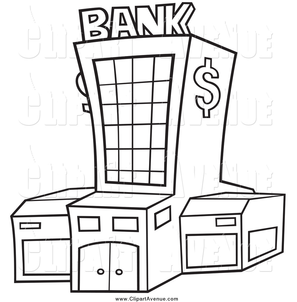 Avenue Clipart Of A Black And White Bank Exterior By Dero    1811