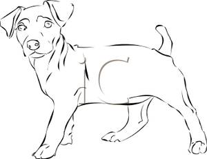 Black And White Small Puppy Royalty Free Clipart Picture 100208 126927