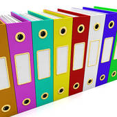 Clip Art   Row Of Colorful Files To Get Organized  Stock Illustration