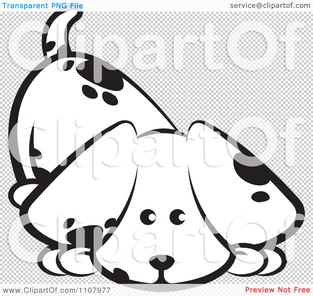 Clipart Cute Black And White Puppy Sniffing The Ground Royalty Free