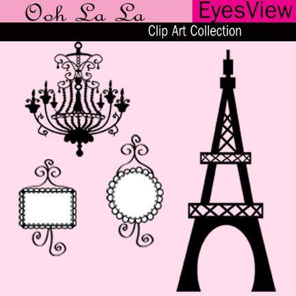 Clipart Ooh La La Paris Clip Art Digital Instant Download Cards