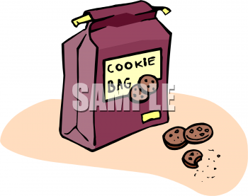 Clipart Picture Of A Bag Of Chocolate Chip Cookies   Foodclipart Com