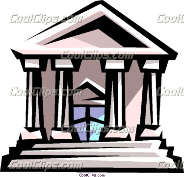 Courthouse Or Bank Building Vector Clip Art