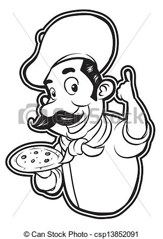 Eps Vectors Of Black And White Clipart Pizza Chef Csp13852091   Search