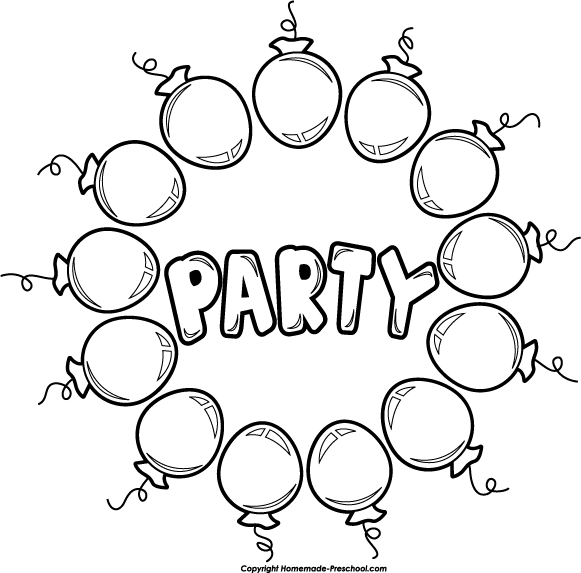 Birthday Balloon Black And White Clipart - Clipart Kid
