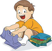 Kids Folded Laundry Clipart Kid Boy Folding Shirts