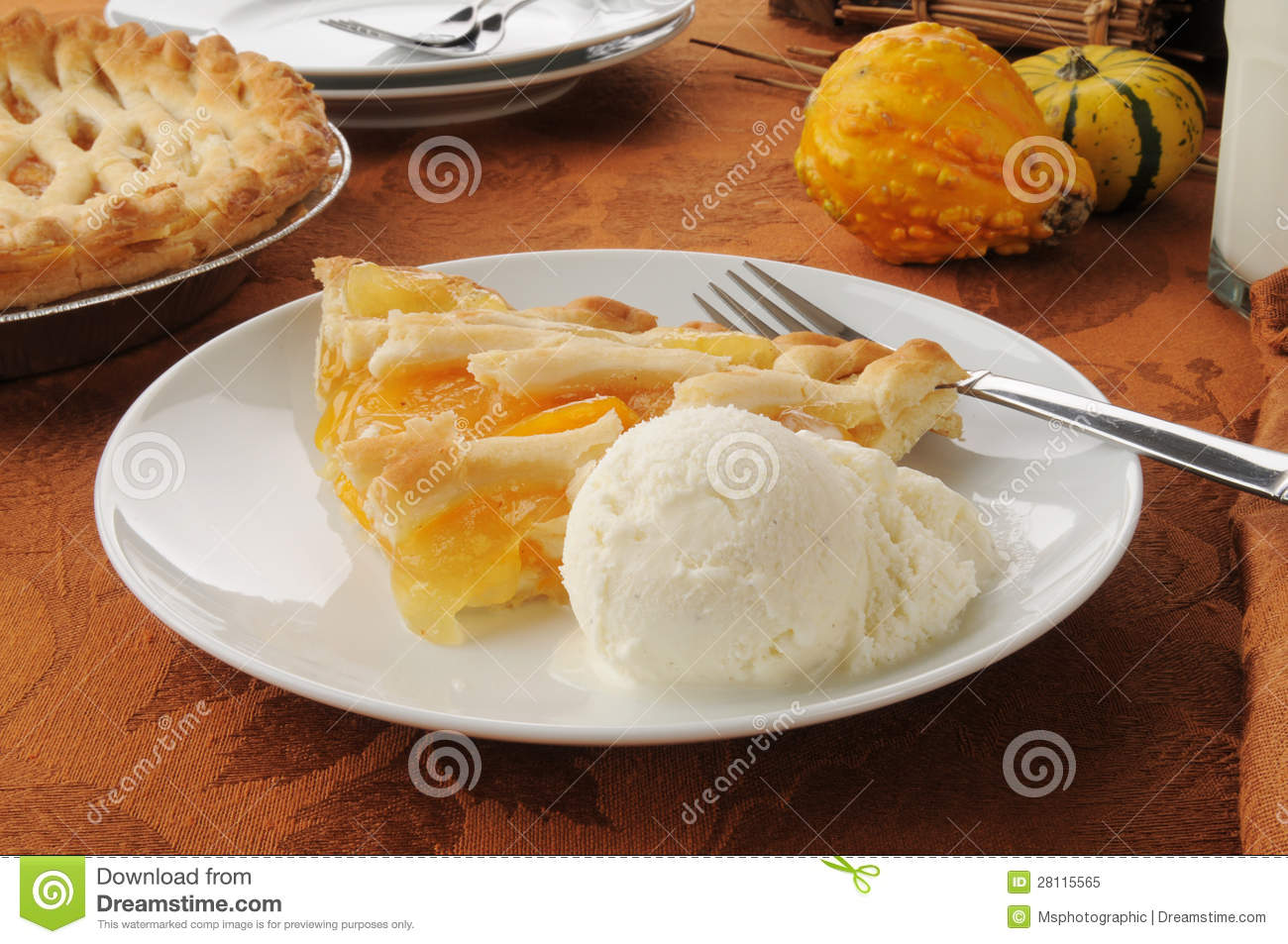 Peach Pie With Ice Cream Royalty Free Stock Photo   Image  28115565