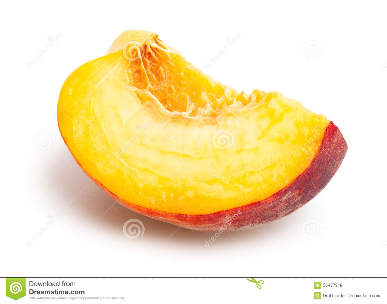 Peach Slice On White Background
