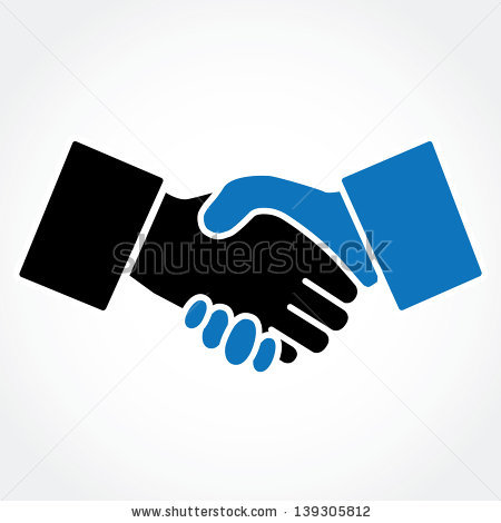 People Silhouette Shaking Hands Stock Vector Handshake Blue Shaking