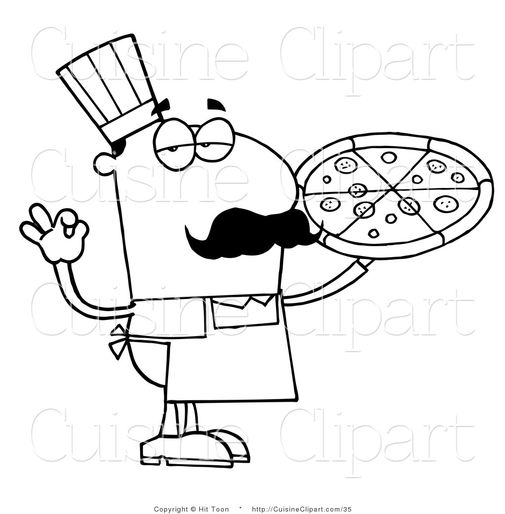 Pizza Clipart Black And White Cuisine Clipart Of An Outlined Pizza