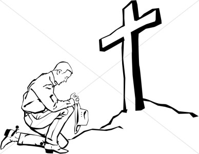 Praying Cowboy At The Cross   Prayer Clipart