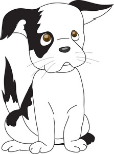 Puppy Eyes Clipart Image   Black And White Puppy Giving The Puppy Eyes