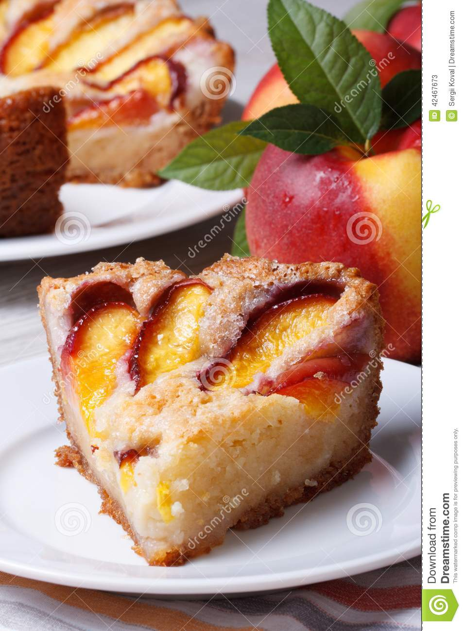 Slice Of Peach Pie On A White Plate Vertical Stock Photo   Image