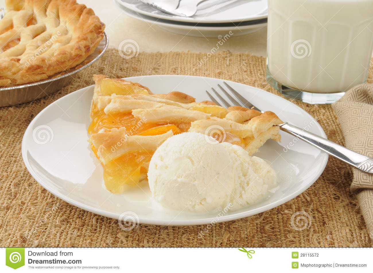Slice Of Peach Pie With Ice Cream Stock Photography   Image  28115572