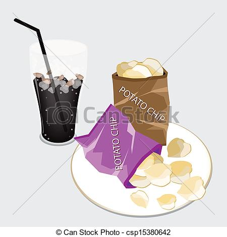 Vector Of Open Bag Of Chips With A Delicious Iced Coffee   Snack Food